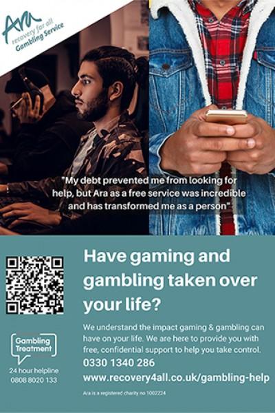 Gaming and gambling addiction poster