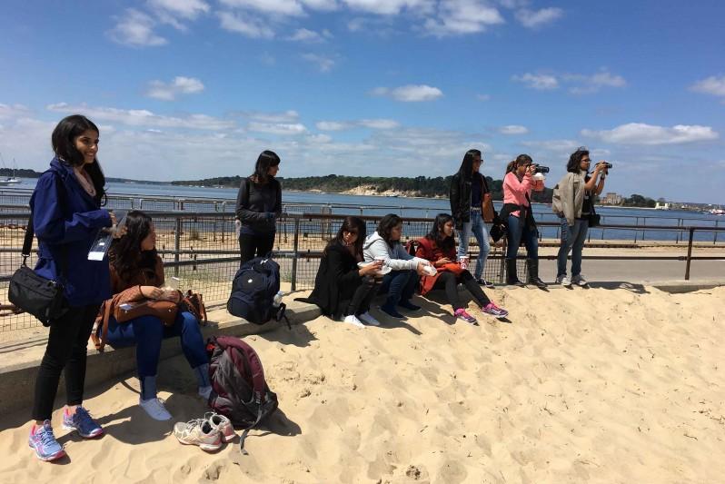 Destination India students on Studland beach visit