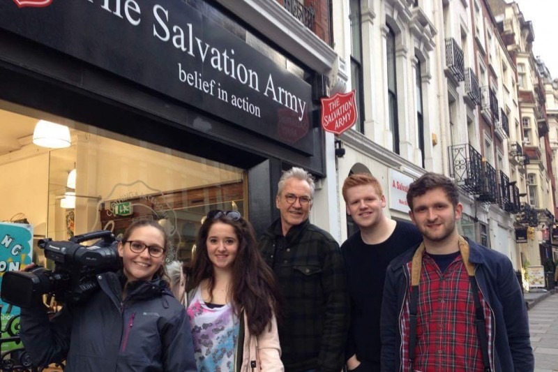 Larry Lamb with students