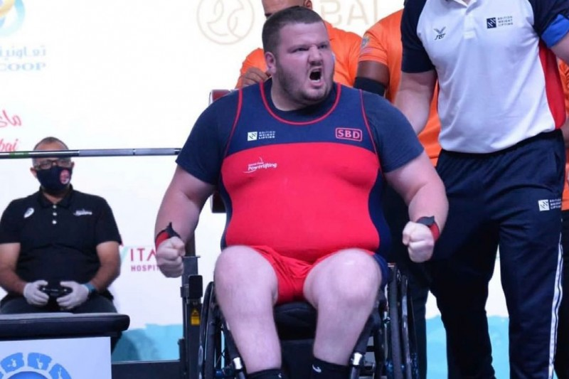 Liam Mcgarry competing at the Dubai Para Powerlifting World Cup 2021