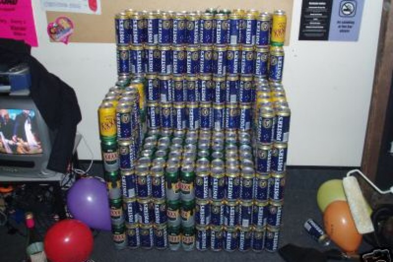 A carefully assembled 'Beer chair' at Marcos' place