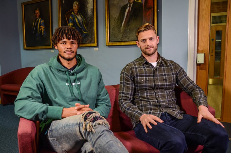 11a1bf6fb56 AFC Bournemouth s Simon Francis and Tyrone Mings visit BU ...