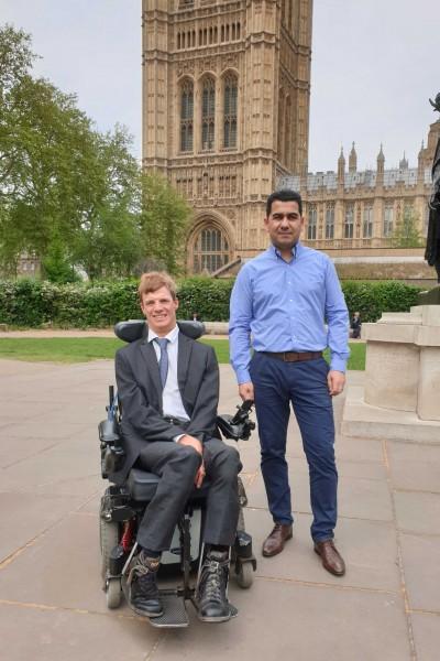 Paul Whittington and Huseyin Dogan outside Parliament