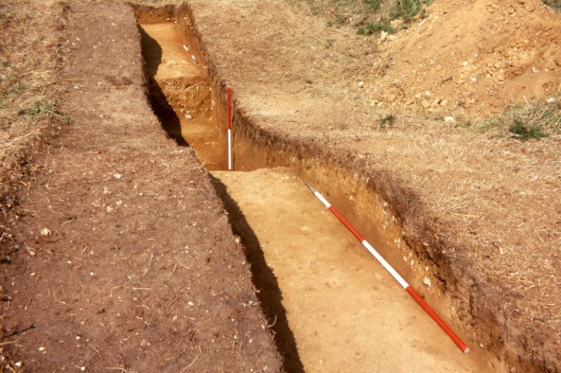 Trench 2 at Black Down cut through the defences of the fortlet close to the south-west corner.