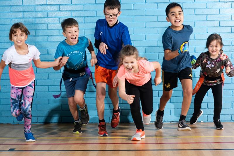 Children at the start of a running race