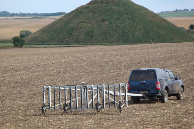 Surveying in the Avebury landscape: Vehicle-towed 16-sensor array in use on Waden Hill in July 2012.
