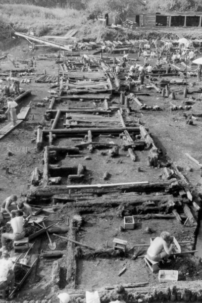 The Troitsky site in Novgorod showing excavated wooden buildings
