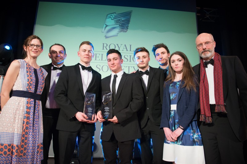 Wiltshire College students collect their Student Drama award for The Manor at Royal Television Society's Professional and Student Awards 2018