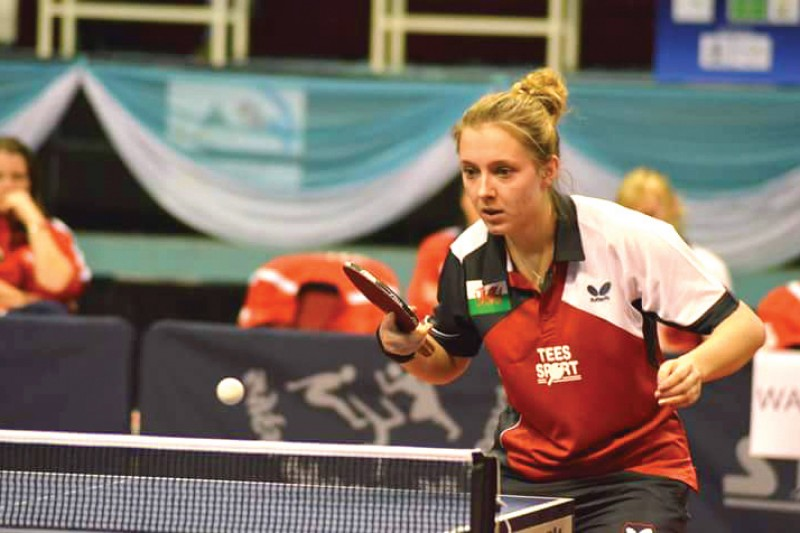 Chloe Thomas at the World Team Table Tennis Championships