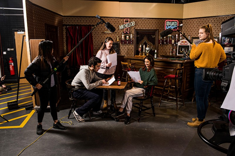TV Production students in the studio filming