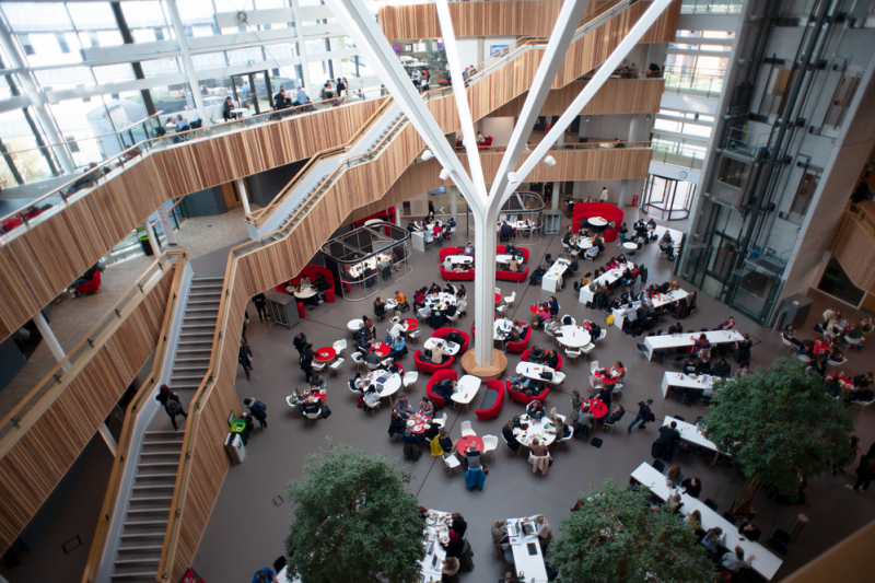 Inside the Fusion Building, which features 27 seminar rooms, three lecture theatres, research space, a 24-station PC laboratory, rooftop terraces and numerous catering facilities, topped with a glass-domed roof. The building has achieved an Energy Performance Certificate rating of A and BREEAM Excellent; it features a range of the latest technologies designed to reduce its environmental impact.