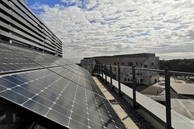 The new Poole Gateway Building on Talbot Campus, viewed here from the solar panels on the top of the Fusion Building, has achieved the BREEAM 'excellent' sustainability standard