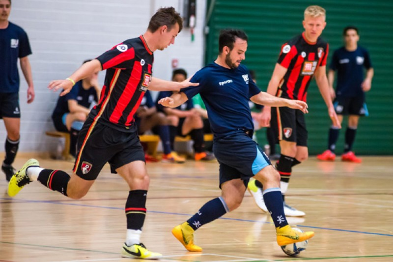 A game of futsal between BU players in SportBU and AFC Bournemouth kits