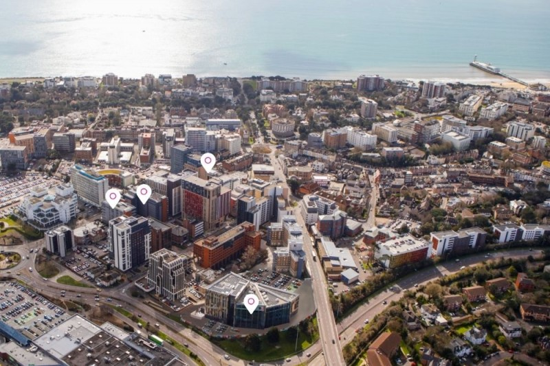 A screenshot of the Lansdowne view of our virtual tour, with the sea and beach on the horizon