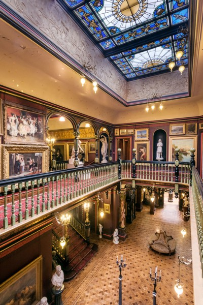 Inside the Russell-Cotes museum, viewing the house from the first floor
