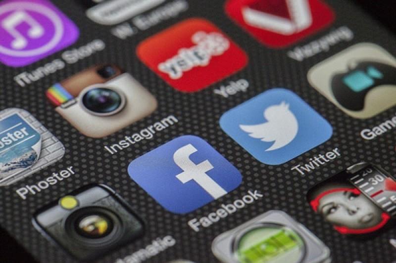 social media logos on phone