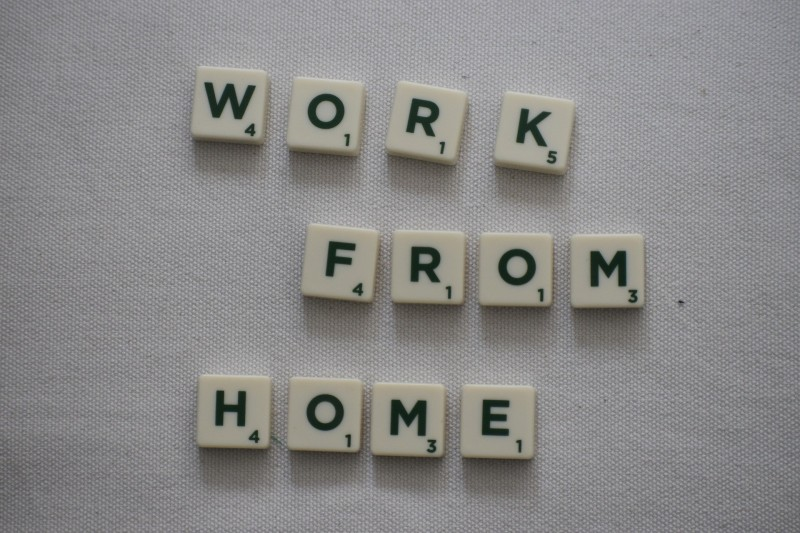 Scrabble letters reading 'Work from home'