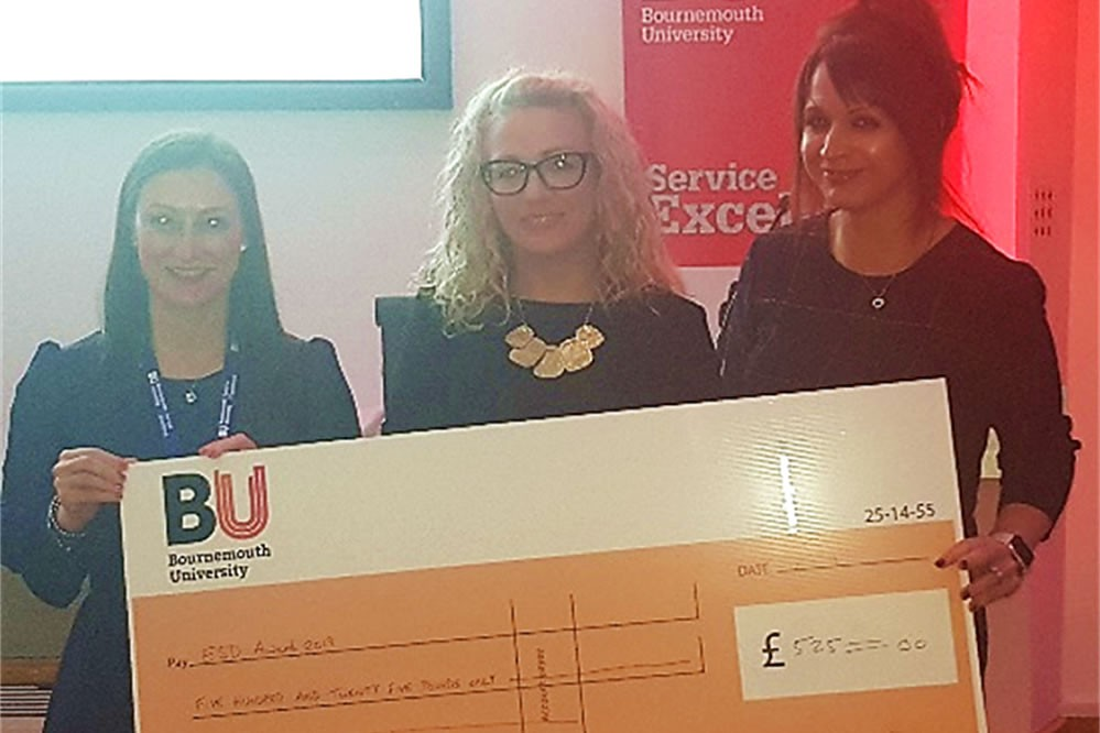 Collaborating with The Anthony Nolan Trust: Members of the marketing campaign teaching team receiving the Excellence in Sustainable Teaching award